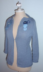Merino and silk blue knit cardigan
