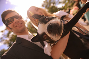 David and Alexandra on their wedding day with Turbo